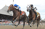 The Big Beast (no. 7), ridden by Javier Castellano and trained by Anthony Dutrow, wins the 30th running of the grade 1 King's Bishop Stakes for three year olds on August 23, 2014 at Saratoga Race Course in Saratoga Springs, New York.  (Bob Mayberger/Eclipse Sportswire)