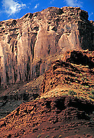 View along the White Rim Trail, Island In The Sky area,  slickrock, southern Utah, colorado plateau, redrock, wilderness, Organ Rock Shale, Wingate sandstone formation, Chinle Formation, White Rim Sandstone formation, noble, majestic, vertical, ove erpowe