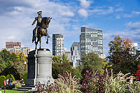 Equestrian bronze statue of George Washington, in the Public Garden, Boston, Massachusetts, USA