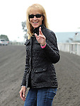 May 7, 2011.Karen Headley, assistant trainer, smiling after her horse, M One Rifle ridden by Chantal Sutherland won the Cool Frenchy Stakes at Hollywood Park, Inglewood, CA.