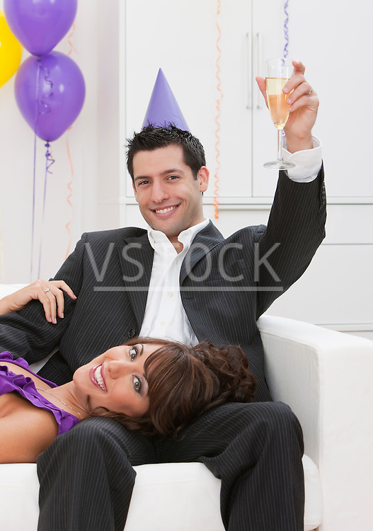 USA, Illinois, Metamora, Portrait of couple at New Year's Eve party