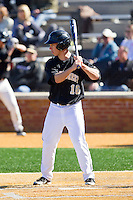 Andrew Williams (16) of the Wake Forest Demon Deacons at bat against the Youngstown State Penguins at Wake Forest Baseball Park on February 24, 2013 in Winston-Salem, North Carolina.  The Demon Deacons defeated the Penguins 6-5.  (Brian Westerholt/Four Seam Images)
