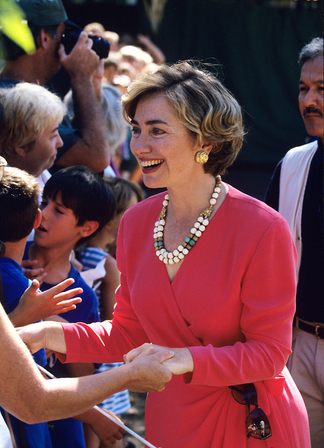 Hillary Clinton greets a crowd after attending church  during a Presidential vacation on the Massachusetts island of Martha's Vineyard.