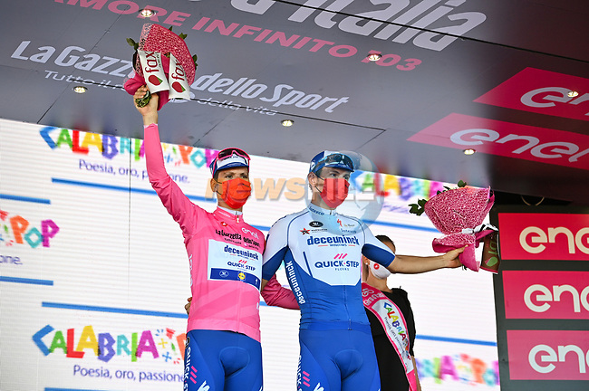 Race leader Joao Almeida (POR) Deceuninck-Quick Step retains the Maglia Rosa and leading team at the end of Stage 8 of the 103rd edition of the Giro d'Italia 2020 running 200km from Giovinazzo to Vieste, Sicily, Italy. 10th October 2020.  <br /> Picture: LaPresse/Massimo Paolone | Cyclefile<br /> <br /> All photos usage must carry mandatory copyright credit (© Cyclefile | LaPresse/Massimo Paolone)
