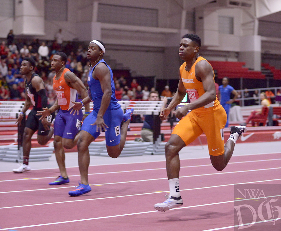 NWA Democrat-Gazette/BEN GOFF @NWABENGOFF<br /> Christian Coleman (right) of Tennessee runs to victory in the 60 meter dash on Friday Feb. 12, 2016 during the Tyson Invitational track meet at the Randal Tyson Track Complex in Fayetteville.