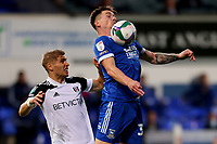 16th September 2020; Portman Road, Ipswich, Suffolk, England, English Football League Cup, Carabao Cup, Ipswich Town versus Fulham; Oliver Hawkins of Ipswich Town under pressure from Maxime Le Marchand of Fulham