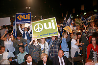 Montreal (QC) CANADA -   October, 1995 File Photo - Partisans of the OUI (Yes to Quebec separation) gather at Longeuil auditorium for the last political rally before the referendum held on October 30, 1995. The OUI-YES Lost to the federalist camp by a very small margin.