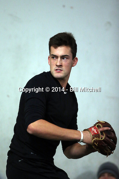 Tyler Witt participates in the a showcase for scouts at the PFA training facility in Upland, California on December 26, 2014 (Bill Mitchell)