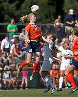 University of Virginia midfielder/defender Maggie Kistner (16) and Boston College forward Stephanie McCaffrey (9) battle for head ball. Boston College defeated University of Virginia, 2-0, at the Newton Soccer Field, on September 18, 2011.