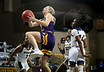 SIOUX FALLS, SD - MARCH 7: Danni Nichols #4 of the Western Illinois Leathernecks takes the ball to the basket against the UMKC Kangaroos during the Summit League Basketball Tournament at the Sanford Pentagon in Sioux Falls, SD. (Photo by Dave Eggen/Inertia)