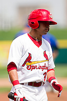 Jose Garcia (3) of the Springfield Cardinals on deck during a game against the Midland RockHounds on April 19, 2011 at Hammons Field in Springfield, Missouri.  Photo By David Welker/Four Seam Images