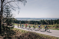 today's breakaway group rolling along the beautiful landscapes<br /> <br /> 82nd Flèche Wallonne 2018 (1.UWT)<br /> 1 Day Race: Seraing - Huy (198km)