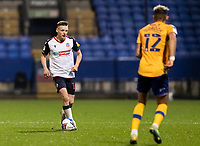 Bolton Wanderers' Tom White competing with Mansfield Town's Kellan Gordon (right) <br /> <br /> Photographer Andrew Kearns/CameraSport<br /> <br /> The EFL Sky Bet League Two - Bolton Wanderers v Mansfield Town - Tuesday 3rd November 2020 - University of Bolton Stadium - Bolton<br /> <br /> World Copyright © 2020 CameraSport. All rights reserved. 43 Linden Ave. Countesthorpe. Leicester. England. LE8 5PG - Tel: +44 (0) 116 277 4147 - admin@camerasport.com - www.camerasport.com