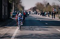 'locomotive' Iljo Keisse (BEL/QuickStep Floors) driving the peloton once again<br /> <br /> Omloop Het Nieuwsblad 2018<br /> Gent › Meerbeke: 196km (BELGIUM)