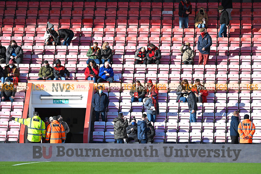AFC Bournemouth fans take their seats during AFC Bournemouth vs Huddersfield Town, Sky Bet EFL Championship Football at the Vitality Stadium on 12th December 2020