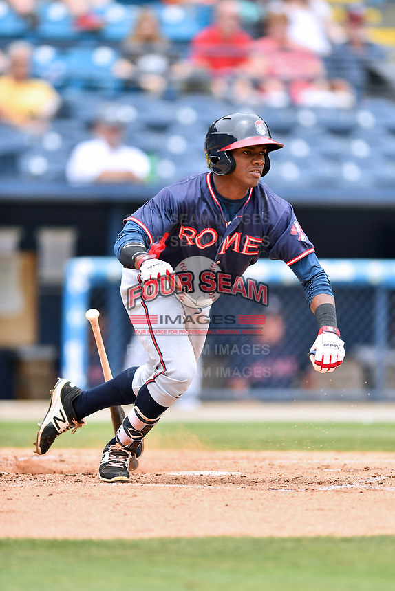 Rome Braves second baseman Kevin Josephina (24) runs to first base during a game against the Asheville Tourists at McCormick Field on June 25, 2017 in Asheville, North Carolina. The Braves defeated the Tourists 7-2. (Tony Farlow/Four Seam Images)