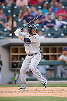 Tyler Holt (15) of the Columbus Clippers at bat against the Charlotte Knights at BB&T BallPark on May 27, 2015 in Charlotte, North Carolina.  The Clippers defeated the Knights 9-3.  (Brian Westerholt/Four Seam Images)