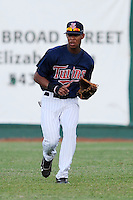 Elizabethton Twins center fielder Byron Buxton #41 fields a grounder during a game against the Greenville Astros at Joe O'Brien Field on August 21, 2012 in Elizabethton, Tennessee. The Twins  defeated the Astros 7-5 (Tony Farlow/Four Seam Images).
