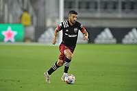 WASHINGTON, DC - JULY 7: Felipe Martins #18 of D.C. United moves the ball during a game between Liga Deportiva Alajuense  and D.C. United at Audi Field on July 7, 2021 in Washington, DC.
