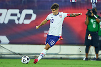 5th September 2021; Nashville, TN, USA;  United States forward Christian Pulisic (10) shoots at goal during a CONCACAF World Cup qualifying match between the United States and Canada on September 5, 2021 at Nissan Stadium in Nashville, TN.