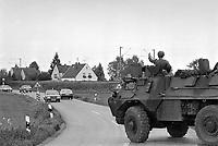 - Franco-German bilateral military exercise in Bavaria, French army Renault VAB armoured infantry transport vehicle, September 1987<br /> <br /> - Esercitazione militare bilaterale franco-tedesca in Baviera, veicolo corazzato per il trasporto fanteria Renault VAB dell'esercito francese, Settembre 1987