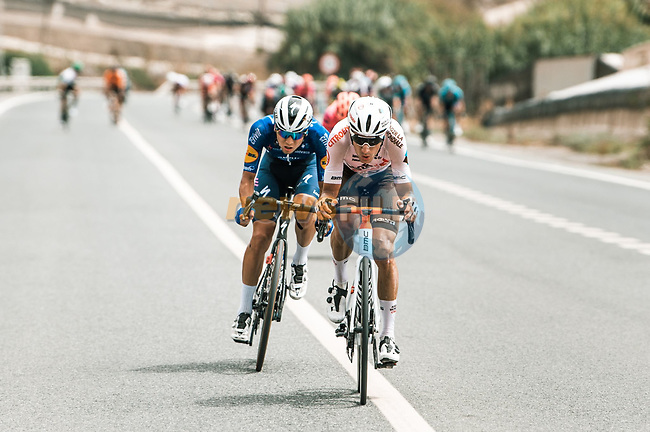 Clément Champoussin (FRA) AG2R Citroën Team and Mauri Vansevenant (BEL) Deceuninck-Quick Step in the breakaway during Stage 10 of La Vuelta d'Espana 2021, running 189km from Roquetas de Mar to Rincón de la Victoria, Spain. 24th August 2021.     <br /> Picture: Cxcling | Cyclefile<br /> <br /> All photos usage must carry mandatory copyright credit (© Cyclefile | Cxcling)