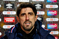 19th December 2020; Brentford Community Stadium, London, England; English Football League Championship Football, Brentford FC versus Reading; Reading Manager Veljko Paunovic answering questions from the written press after the match