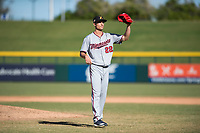 Salt River Rafters starting pitcher Griffin Jax (22), of the Minnesota Twins organization, during an Arizona Fall League game against the Mesa Solar Sox at Sloan Park on November 9, 2018 in Mesa, Arizona. Mesa defeated Salt River 5-4. (Zachary Lucy/Four Seam Images)