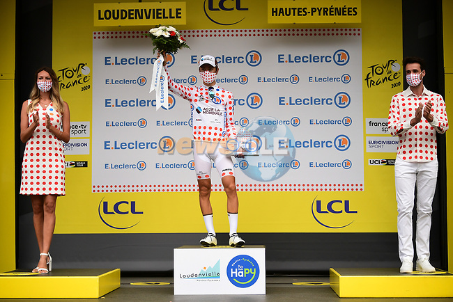 Benoit Cosnefroy (FRA) AG2R La Mondial retains the mountains Polka Dot Jersey at the end of Stage 8 of Tour de France 2020, running 141km from Cazeres-sur-Garonne to Loudenvielle, France. 5th September 2020. <br /> Picture: ASO/Pauline Ballet | Cyclefile<br /> All photos usage must carry mandatory copyright credit (© Cyclefile | ASO/Pauline Ballet)