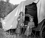 Westmoreland County PA:  Brady Jr and Helen Stewart posing for a photo while camping out along Route 30 in Westmoreland County.