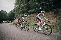 Romain Bardet (FRA/AG2R-La Mondiale), Rigoberto Uran (COL/Cannondale-Drapac) & Louis Meintjes (ZAF/UAE-Emirates) up the Mur de Péguère (Cat1/1375m/9.3km/7.9%)<br /> <br /> 104th Tour de France 2017<br /> Stage 13 - Saint-Girons › Foix (100km)