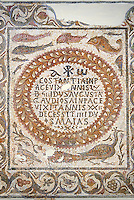 Detail of  a fifth century AD Eastern Roman Byzantine  Christian funerary mosaic of two adults and a young child. <br />