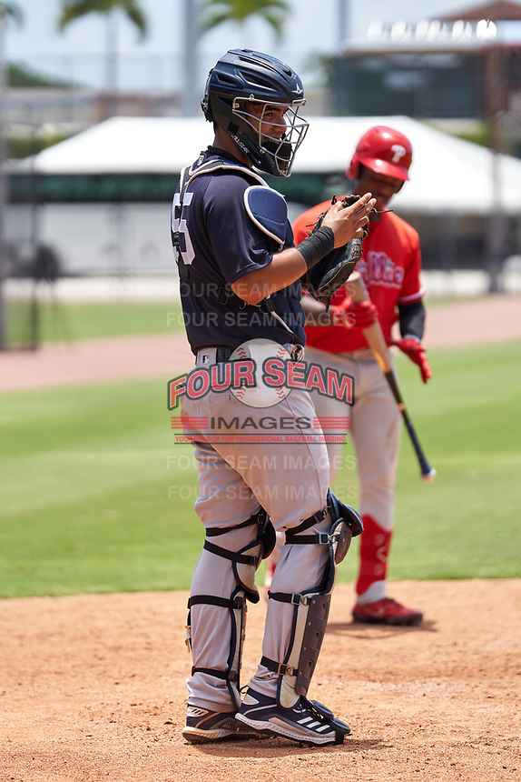New York Yankees catcher Antonio Gomez (55) during an Extended Spring Training game against the Philadelphia Phillies on June 22, 2021 at the Carpenter Complex in Clearwater, Florida. (Mike Janes/Four Seam Images)