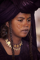 In-Gall, near Agadez, Niger - Tuareg Woman, Dressed for a Wedding Celebration.  Jewelry, Braided Hair, Henna.