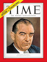 Time Cover, Eugene McCarthy, October 22, 1951. Photo by John G. Zimmerman (B&W photo with color by illustrator).