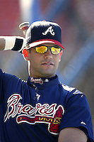Javy Lopez of the Atlanta Braves before a 2002 MLB season game against the Los Angeles Dodgers at Dodger Stadium, in Los Angeles, California. (Larry Goren/Four Seam Images)