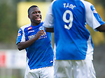 St Johnstone v Kilmarnock....20.10.12      SPL.Nigel Hasselbaink celebrates his goal with a dance with Gregory Tade.Picture by Graeme Hart..Copyright Perthshire Picture Agency.Tel: 01738 623350  Mobile: 07990 594431