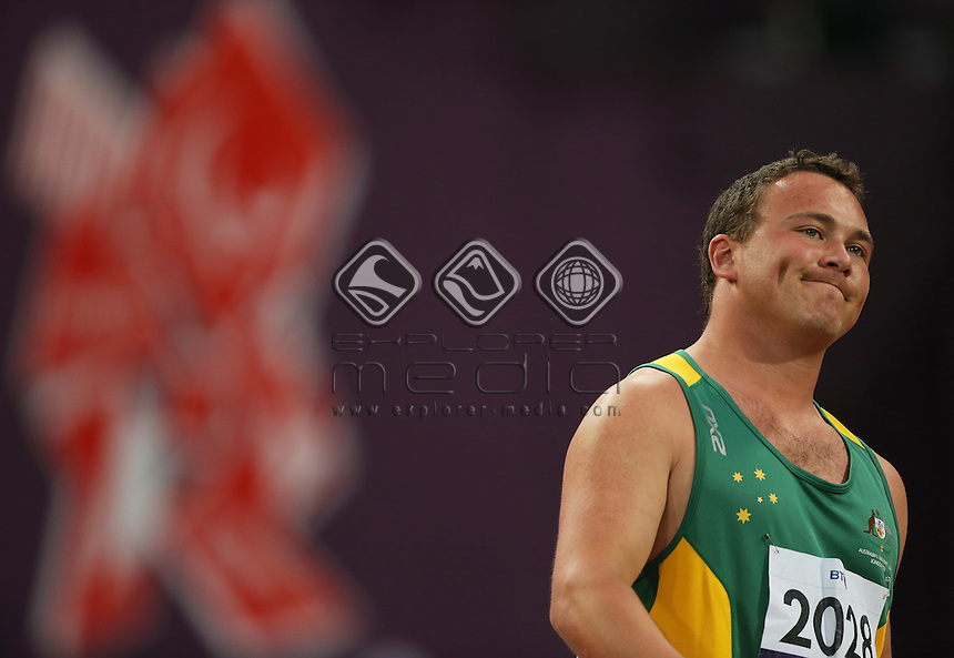 Damien Bowen (AUS), Men's Shot Put - F34 Final.<br /> Athletics, Olympic Stadium (Tuesday 4th Sept)<br /> Paralympics - Summer / London 2012<br /> London England 29 Aug - 9 Sept <br /> © Sport the library/Joseph Johnson
