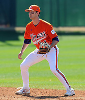 Infielder J.D Burgess warms up prior to a game between the Clemson Tigers and Mercer Bears on Feb. 23, 2008, at Doug Kingsmore Stadium in Clemson, S.C. Photo by: Tom Priddy/Four Seam Images