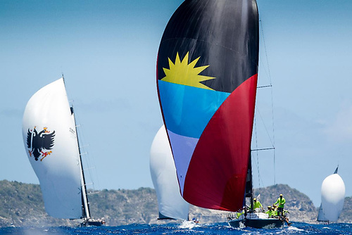 Yachts race downwind during the 2019 edition of Antigua Sailing Week