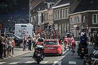Later winner Nacer Bouhanni (Fra/Cofidis) waited by teammates after a mechanical issue.  <br /> <br /> <br /> GP Marcel Kint 2018 <br /> Kortrijk > Zwevegem 174.8km (BELGIUM)