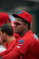 Clearwater Threshers pitcher Jose Taveras (45) in the dugout during a game against the Palm Beach Cardinals on April 15, 2017 at Spectrum Field in Clearwater, Florida.  Clearwater defeated Palm Beach 2-1.  (Mike Janes/Four Seam Images)