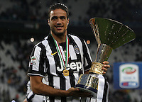 Calcio, Serie A: Juventus vs Napoli. Torino, Juventus Stadium, 23 maggio 2015. <br /> Juventus' Alessandro Matri celebrates the victory of the Scudetto at the end of the Italian Serie A football match between Juventus and Napoli at Turin's Juventus Stadium, 23 May 2015.<br /> UPDATE IMAGES PRESS/Isabella Bonotto