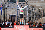 Gino Mäder (SUI) Bahrain Victorious wins the young riders classification White Jersey at the end of Stage 21 of La Vuelta d'Espana 2021, an individual time trial running 33.8km from Padron to Santiago de Compostela, Spain. 5th September 2021.    <br /> Picture: Luis Angel Gomez/Photogomezsport | Cyclefile<br /> <br /> All photos usage must carry mandatory copyright credit (© Cyclefile | Luis Angel Gomez/Photogomezsport)
