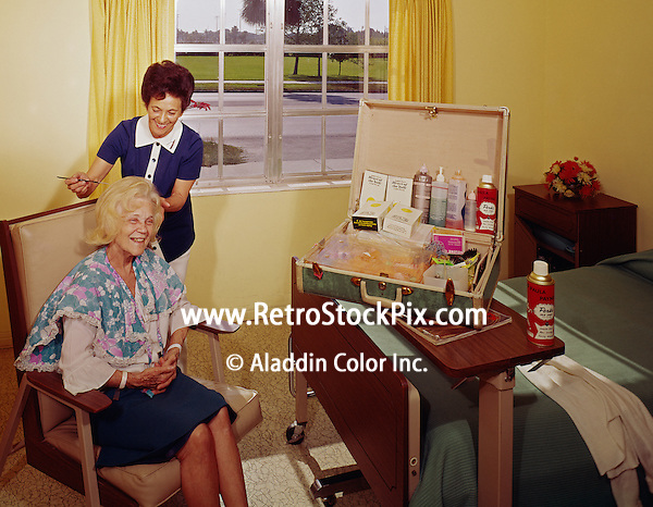 North Horizon Nursing Home, St. Petersburg FL. Resident having her hair styled. 1962