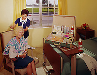 North Horizon Nursing Home, St. Petersburg FL. Resident having her hair styled. 1962