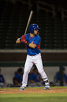 AZL Cubs 2 designated hitter Levi Jordan (4) at bat during an Arizona League game against the AZL Rangers at Sloan Park on July 7, 2018 in Mesa, Arizona. AZL Rangers defeated AZL Cubs 2 11-2. (Zachary Lucy/Four Seam Images)