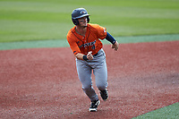 Chase Keng (4) of the UTSA Roadrunners takes his lead off of second base against the Charlotte 49ers at Hayes Stadium on April 18, 2021 in Charlotte, North Carolina. (Brian Westerholt/Four Seam Images)