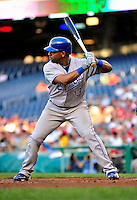 21 June 2010: Kansas City Royals third baseman Alberto Callaspo in action against the Washington Nationals at Nationals Park in Washington, DC. The Nationals edged out the Royals 2-1 to take the first game of their 3-game interleague series and snap a 6-game losing streak. Mandatory Credit: Ed Wolfstein Photo
