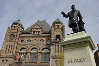 Toronto (ON) CANADA - April 24 2008 File Photo.Statue of Whitney in front of the Legislative Assembly of Ontario in. Queens Park ( in the Downtown area of Toronto)... Opened in 1860 by Edward, Prince of Wales, it was named in honour of Queen Victoria. The park is the site of the Ontario Legislature, which houses the Legislative Assembly of Ontario, and so the phrase Queen's Park is also frequently used to refer to the Government of Ontario.